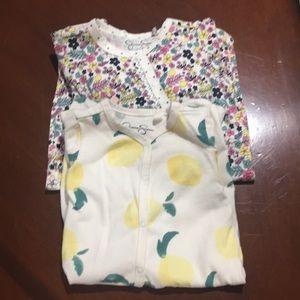 Two Jessica Simpson baby pajamas